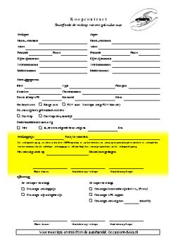 Verkoopcontract auto overeenkomst